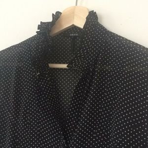4c1169777f1e2a tess Tops - Sheer black button-up blouse with white polka dots